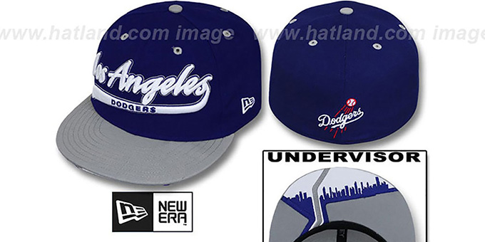 Dodgers 'CITY-SCRIPT' Royal-Grey Fitted Hat by New Era : pictured without stickers that these products are shipped with