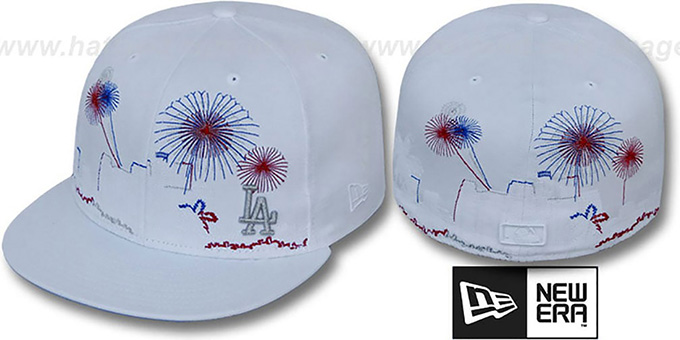 Dodgers 'CITY-SKYLINE FIREWORKS' White Fitted Hat by New Era : pictured without stickers that these products are shipped with