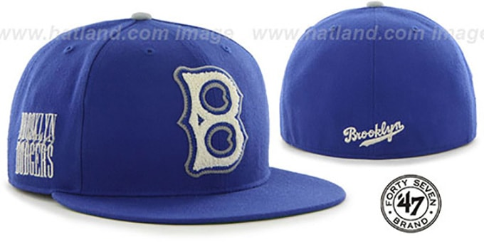 9339811391c Brooklyn Dodgers COOP CATERPILLAR Royal Fitted Hat by 47 Brand