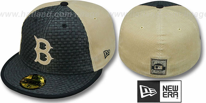 Dodgers COOP 'WEAVE-N-CORD' Fitted Hat by New Era - black-tan : pictured without stickers that these products are shipped with