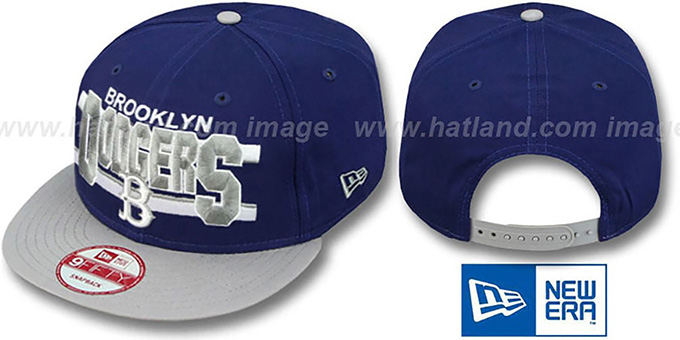 Dodgers COOP 'WORDSTRIPE SNAPBACK' Royal-Grey Hat by New Era : pictured without stickers that these products are shipped with