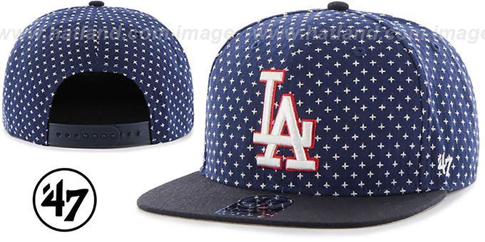 Dodgers 'CROSSBREED SNAPBACK' Navy Hat by Twins 47 Brand : pictured without stickers that these products are shipped with