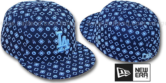 Dodgers 'D-LUX ALL-OVER' Navy-Columbia Fitted Hat by New Era : pictured without stickers that these products are shipped with