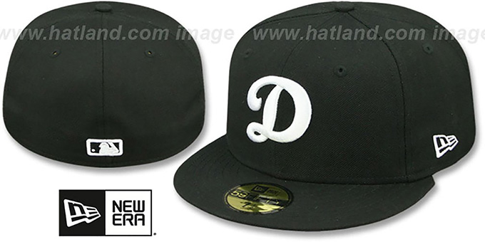 Dodgers 'D TEAM-BASIC' Black-White Fitted Hat by New Era : pictured without stickers that these products are shipped with