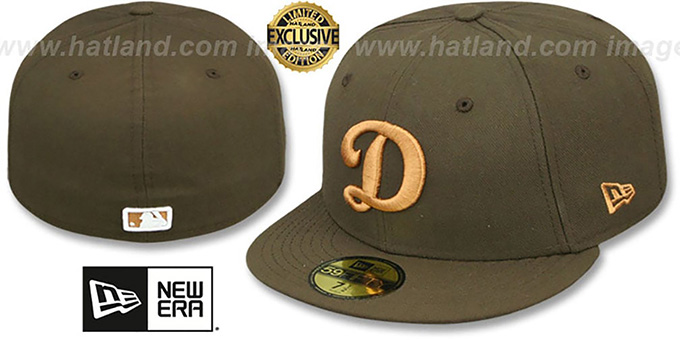 Dodgers 'D TEAM-BASIC' Brown-Wheat Fitted Hat by New Era : pictured without stickers that these products are shipped with