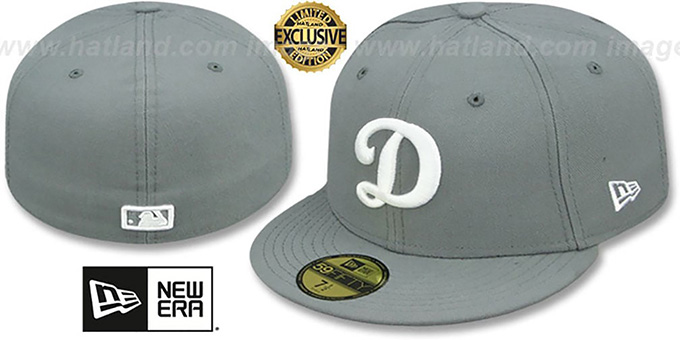 Dodgers 'D TEAM-BASIC' Grey-White Fitted Hat by New Era : pictured without stickers that these products are shipped with