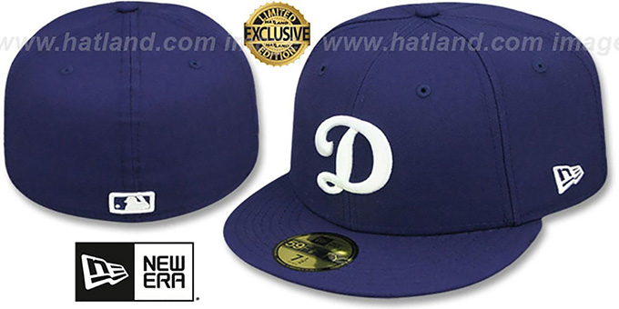 Los Angeles Dodgers D TEAM-BASIC Navy-White Fitted Hat 1290d2c4e4b