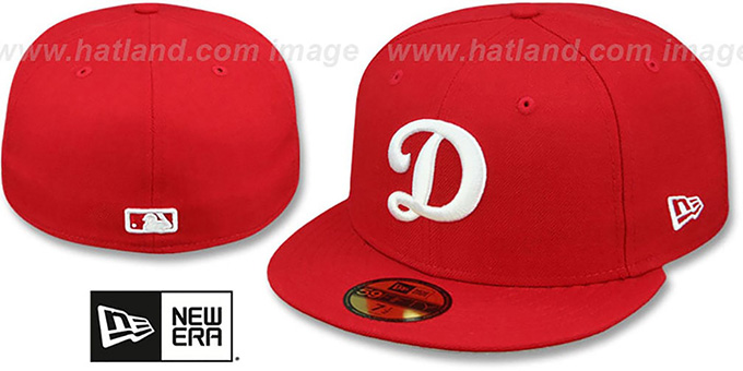 Dodgers 'D TEAM-BASIC' Red-White Fitted Hat by New Era : pictured without stickers that these products are shipped with
