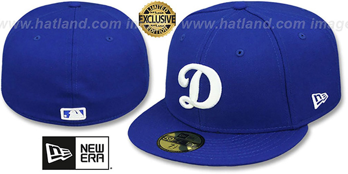 Dodgers 'D TEAM-BASIC' Royal-White Fitted Hat by New Era : pictured without stickers that these products are shipped with