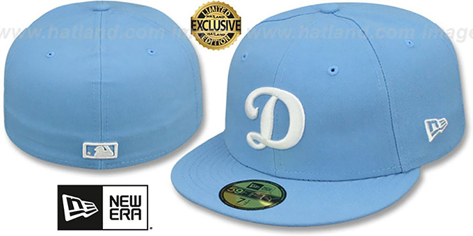 Dodgers 'D TEAM-BASIC' Sky-White Fitted Hat by New Era : pictured without stickers that these products are shipped with