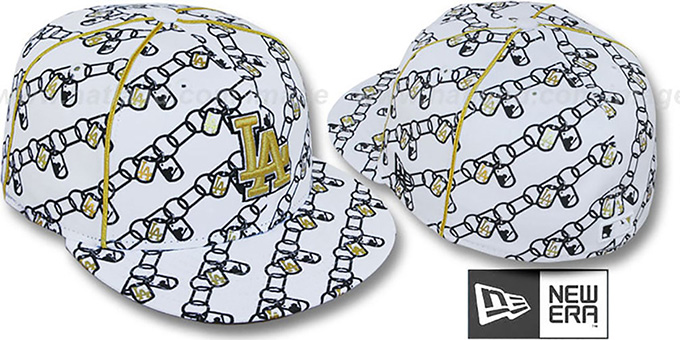 Dodgers 'DAWG CHAIN' White-Black Fitted Hat by New Era