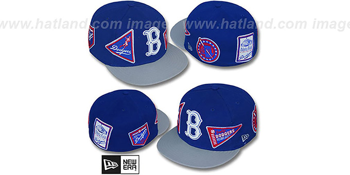 Dodgers 'DEEZ PATCHES' Royal-Grey Fitted Hat by New Era : pictured without stickers that these products are shipped with