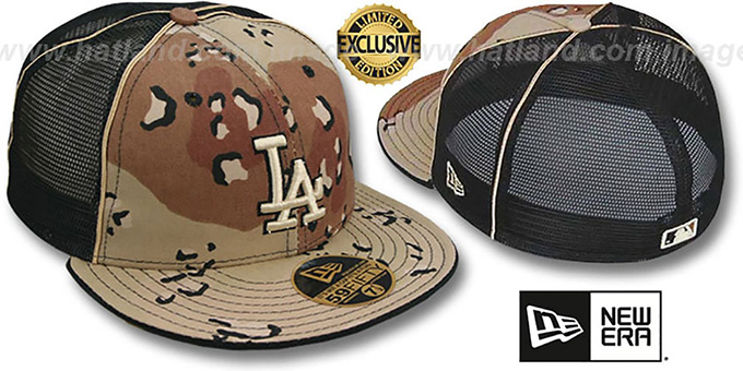 Dodgers 'DESERT STORM MESH-BACK' Fitted Hat by New Era : pictured without stickers that these products are shipped with