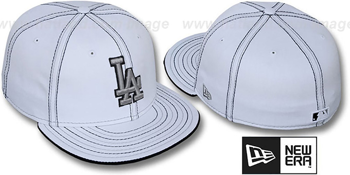Dodgers 'DOUBLE CONTRAST' White Fitted Hat by New Era : pictured without stickers that these products are shipped with