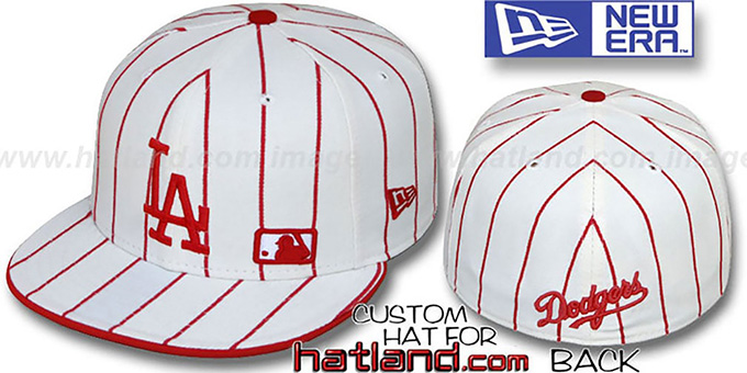 Dodgers 'FABULOUS' White-Red Fitted Hat by New Era : pictured without stickers that these products are shipped with