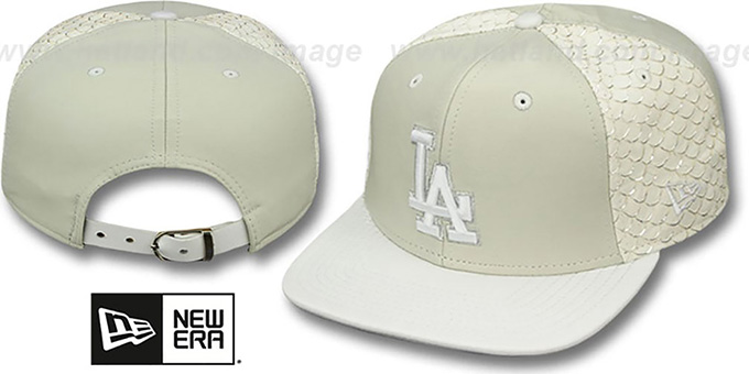 Dodgers 'FISHSCALE LEATHER STRAPBACK' Hat by New Era : pictured without stickers that these products are shipped with