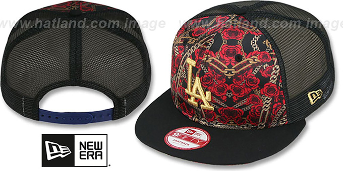Dodgers 'FLORAL CHAIN SNAPBACK' Hat by New Era : pictured without stickers that these products are shipped with