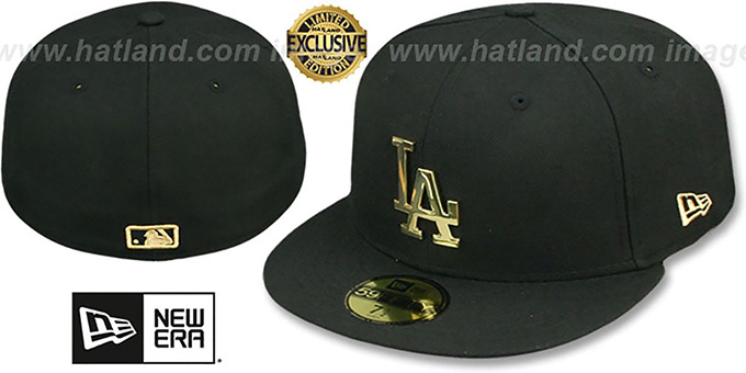 Dodgers 'GOLD METAL-BADGE' Black Fitted Hat by New Era : pictured without stickers that these products are shipped with