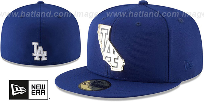 Dodgers 'GOLD STATED METAL-BADGE' Royal Fitted Hat by New Era