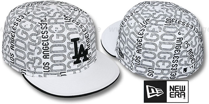 Dodgers 'GOOD TIMES ALL-OVER' White-Black Fitted Hat by New Era : pictured without stickers that these products are shipped with