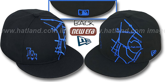 Dodgers 'GPS' Black-Royal Fitted Hat by New Era : pictured without stickers that these products are shipped with