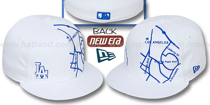 Dodgers 'GPS' White-Royal Fitted Hat by New Era : pictured without stickers that these products are shipped with