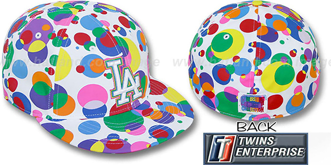 Dodgers 'GUMBALL' White-Multi Fitted Hat by Twins : pictured without stickers that these products are shipped with