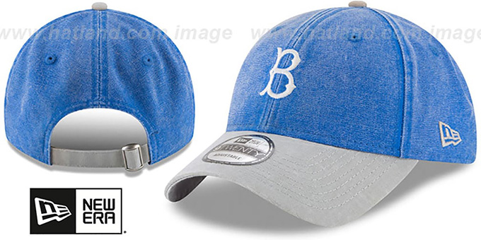 Dodgers 'GW COOP RUGGED CANVAS STRAPBACK' Royal-Grey Hat by New Era : pictured without stickers that these products are shipped with