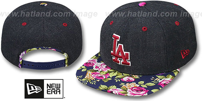 Dodgers 'HEATHER BLOOM SNAPBACK' Navy Hat by New Era : pictured without stickers that these products are shipped with