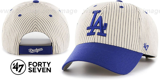 Dodgers 'HOME-RUN PINSTRIPE STRAPBACK' Hat by Twins 47 Brand : pictured without stickers that these products are shipped with
