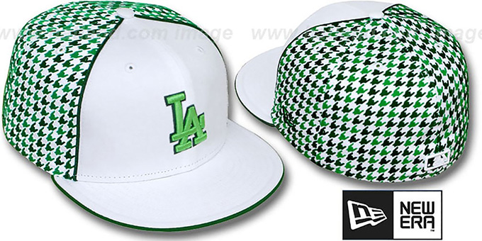 Dodgers 'HOUNDSTOOTH' White-Green Fitted Hat by New Era : pictured without stickers that these products are shipped with