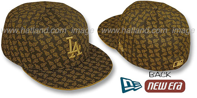 Dodgers LA 'ALL-OVER FLOCKING' Brown-Wheat Fitted Hat by New Era : pictured without stickers that these products are shipped with