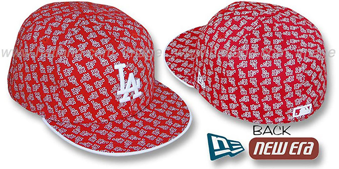 Dodgers LA 'ALL-OVER FLOCKING' Red-White Fitted Hat by New Era : pictured without stickers that these products are shipped with