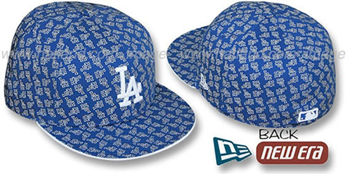 Dodgers LA 'ALL-OVER FLOCKING' Royal-White Fitted Hat by New Era
