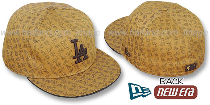 Dodgers LA 'ALL-OVER FLOCKING' Wheat-Brown Fitted Hat by New Era : pictured without stickers that these products are shipped with