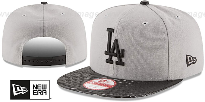 Dodgers 'LEATHER-RIP SNAPBACK' Grey-Black Hat by New Era : pictured without stickers that these products are shipped with