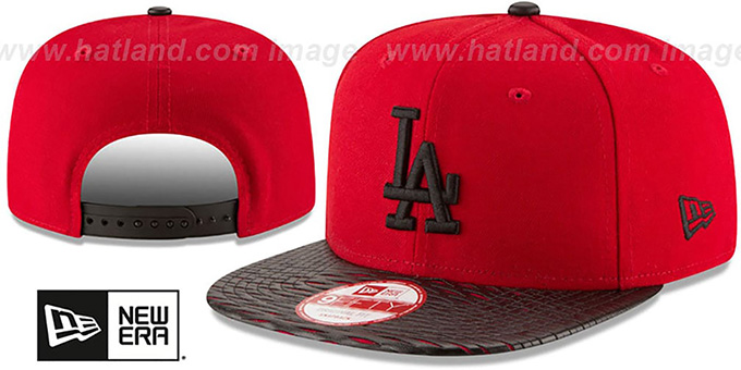 Dodgers 'LEATHER-RIP SNAPBACK' Red-Black Hat by New Era : pictured without stickers that these products are shipped with