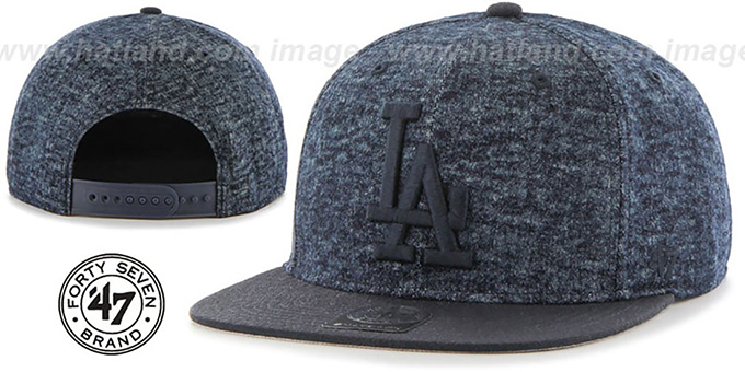 Dodgers 'LEDGEBROOK SNAPBACK' Navy Hat by Twins 47 Brand : pictured without stickers that these products are shipped with