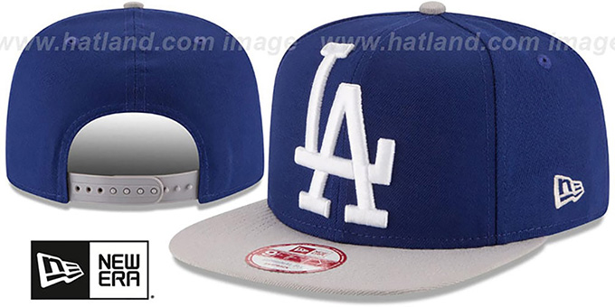 Dodgers 'LOGO GRAND REDUX SNAPBACK' Royal-Grey Hat by New Era : pictured without stickers that these products are shipped with