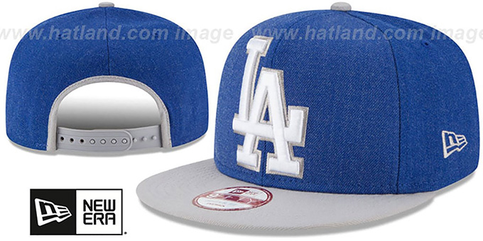 Dodgers 'LOGO GRAND SNAPBACK' Royal-Grey Hat by New Era : pictured without stickers that these products are shipped with