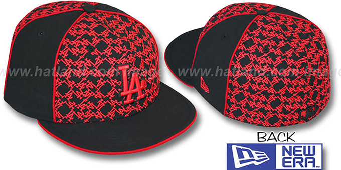 Dodgers 'LOS-LOGOS' Black-Red Fitted Hat by New Era : pictured without stickers that these products are shipped with