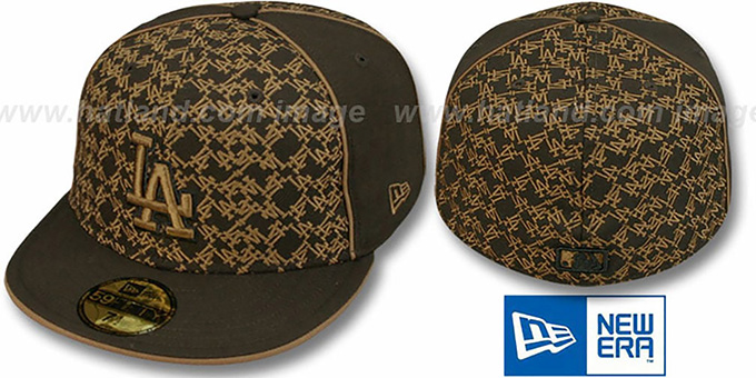 Dodgers 'LOS-LOGOS' Brown-Wheat Fitted Hat by New Era : pictured without stickers that these products are shipped with