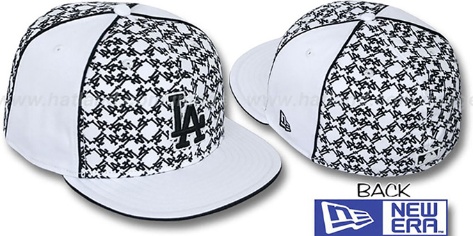Dodgers 'LOS-LOGOS' White-Black Fitted Hat by New Era : pictured without stickers that these products are shipped with