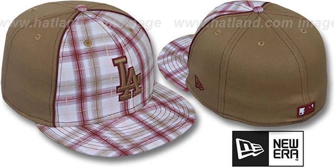 Dodgers 'MACDADDY PLAID' Wheat Fitted Hat by New Era : pictured without stickers that these products are shipped with