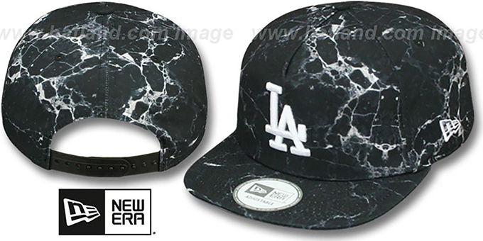 Dodgers 'MARBLE MIX SNAPBACK' Hat by New Era : pictured without stickers that these products are shipped with