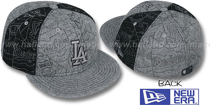 Dodgers 'MELTON PUFFY PINWHEEL' Grey-Black Fitted Hat by New Era : pictured without stickers that these products are shipped with