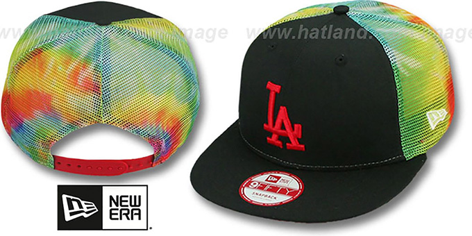 Dodgers 'MESH TYE-DYE SNAPBACK' Hat by New Era : pictured without stickers that these products are shipped with
