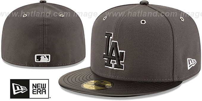 Dodgers 'METAL HOOK' Grey-Black Fitted Hat by New Era : pictured without stickers that these products are shipped with