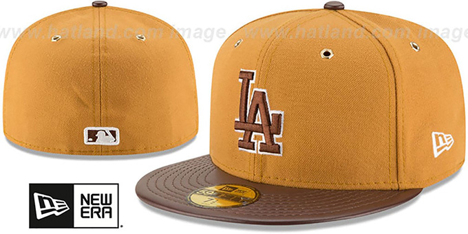 Dodgers 'METAL HOOK' Wheat-Brown Fitted Hat by New Era : pictured without stickers that these products are shipped with