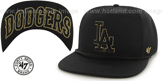 Dodgers 'MINE-SHAFT STRAPBACK' Black Hat by Twins 47 Brand : pictured without stickers that these products are shipped with